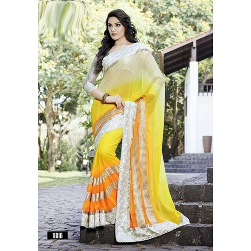 Excl Border Multi Colour Geog Saree With H W Diamond