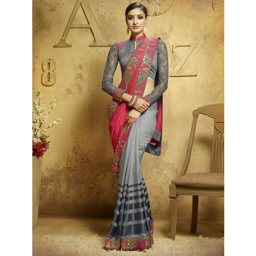 Beautiful Heavy Embroidery Party Wear Saree