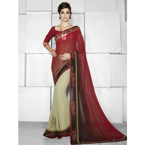 Beautiful Designer Saree With Embroidery Work