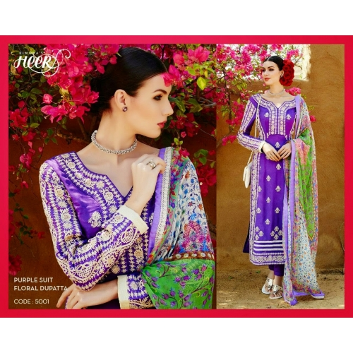 Beautiful Embroidery Semi Stiched Salwar Kameez