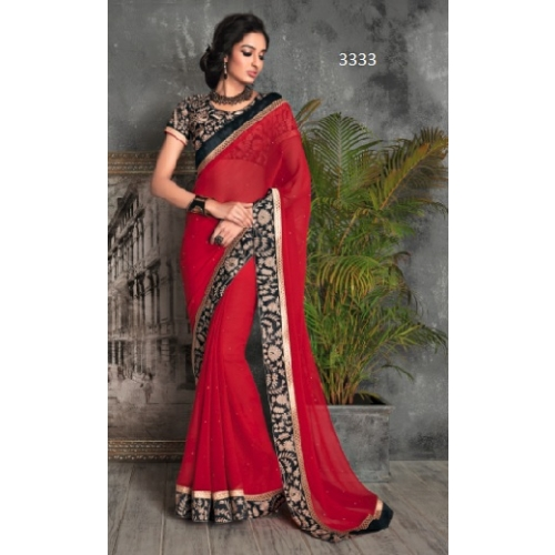 Beautiful Party Wear Designer Saree With Embroidery Work