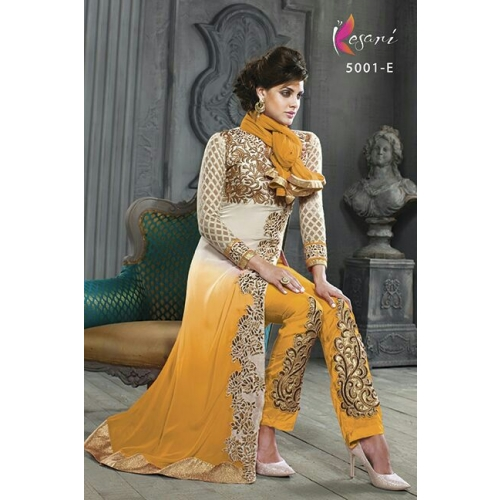 Universal Creations Yellow Colored Georgette Embroidery Dress Material