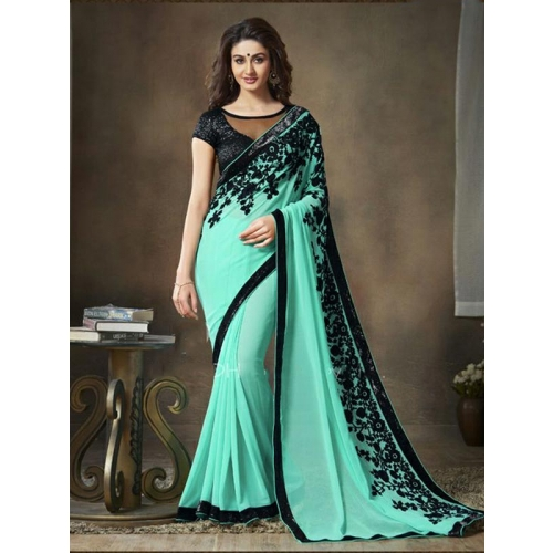 Beautiful Georgette Saree With Embroidery
