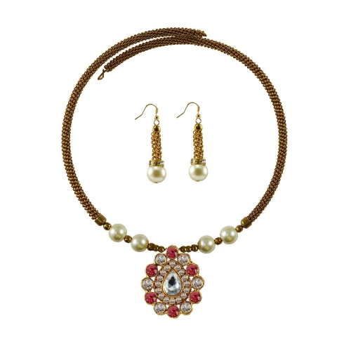 Stone Studded Brass Hasli Adjustable With Earring