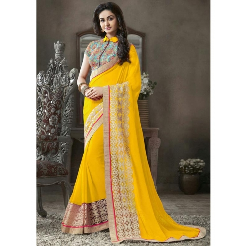 Beautiful Georgette Sarees With Embroidery Work