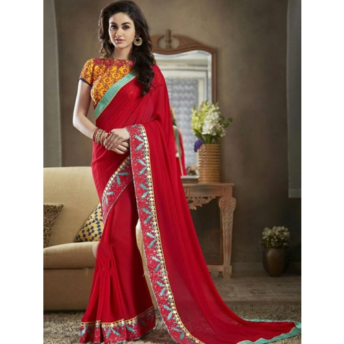 Beautiful Georgeet Sarees With Embroidery Work