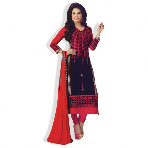 Beautiful Cotton Semi Stitched Salwar Kameez With Embroidery Work