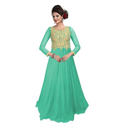 Lakme Designer Net Aqua Color Beautiful Gown