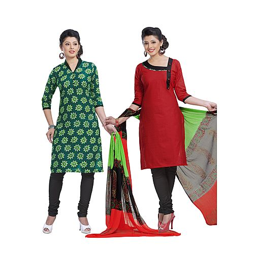 Springer 2 In 1 Beautiful Heavy Cotton Salwar Suit Material S D S No 3006