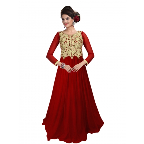 Lakme Designer Net Maroon Color Beautiful Gown