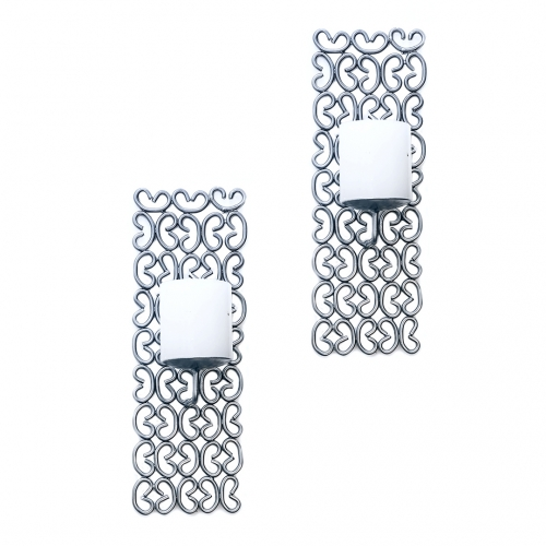 Buy wall sconce candle holder in silver finish set of 2 for Art decoration international pvt ltd