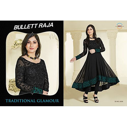 Zc Black Latest Black With Half Embrodred Anarakali Salwar Suit
