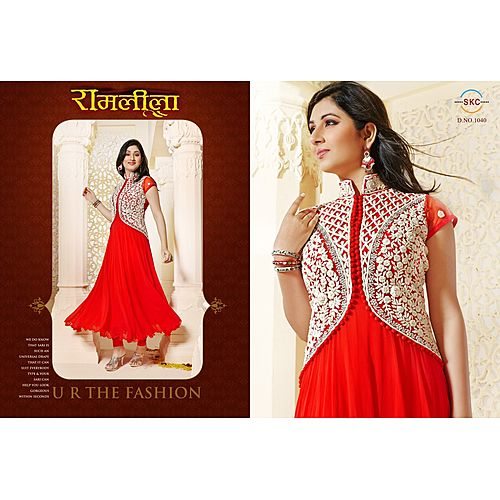 Zc Ram Exclusive Fancy Red With White Koti Embrodred Anarkali Salwar Suit