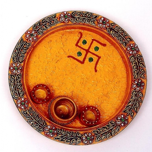 Pt 03 online shopping for diwali pooja accessories by for Aarti thali decoration with clay