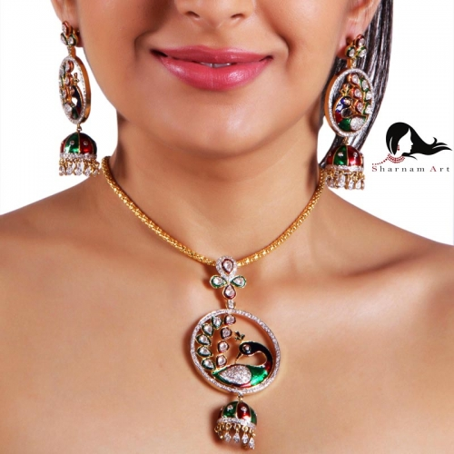 Gold Lacquered With A Touch Of Multi Color Stone Necklaces
