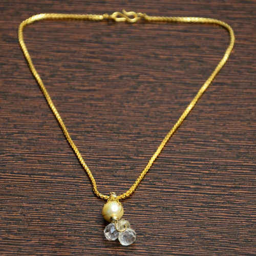 Golden Chain With Off White Crystal Pendant