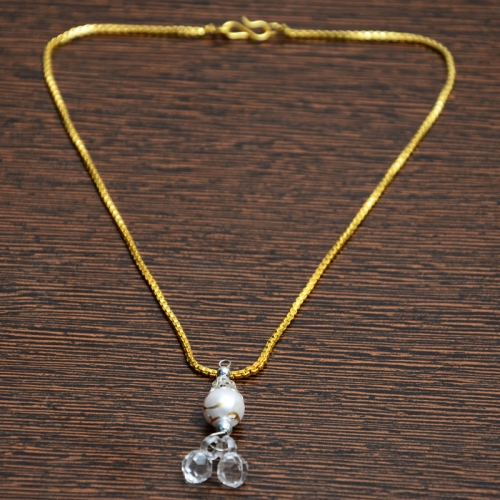 Golden Chain With White Crystal Pendant
