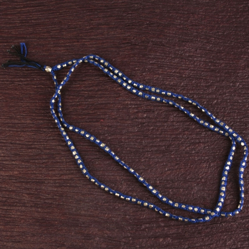 Blue String Beaded Necklace