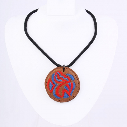 Brown Pendant On Blue & Red Necklace