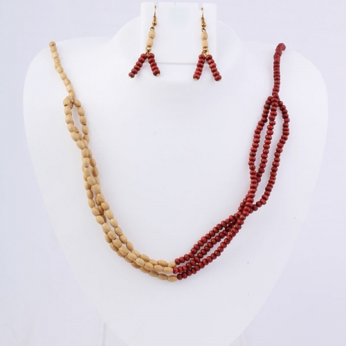 Cream & Maroon Colour Wooden Beads