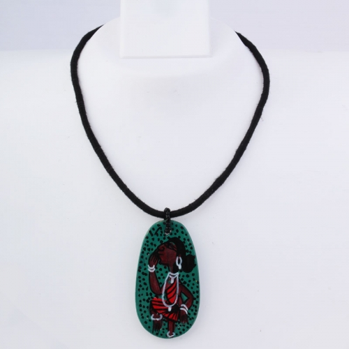 Green Pendant On Woman Design Necklace