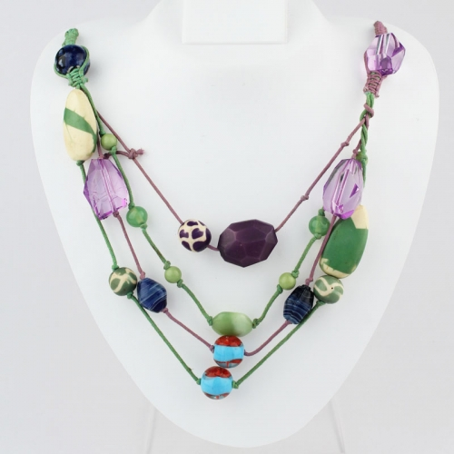 Green, Blue, Purple Necklace