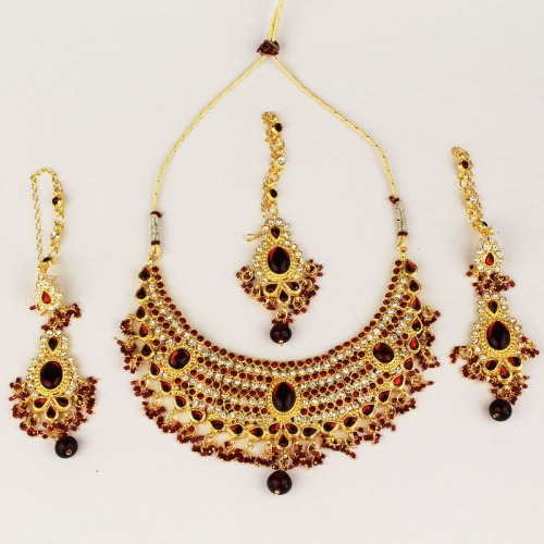 Scintillating Red Kundan Necklace Set 9026m