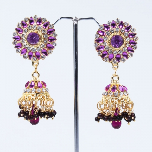 Purple Beads With White Stone Earring