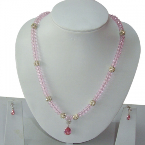Pink Crystal Beads Neckalce Set With Penadant & Earring