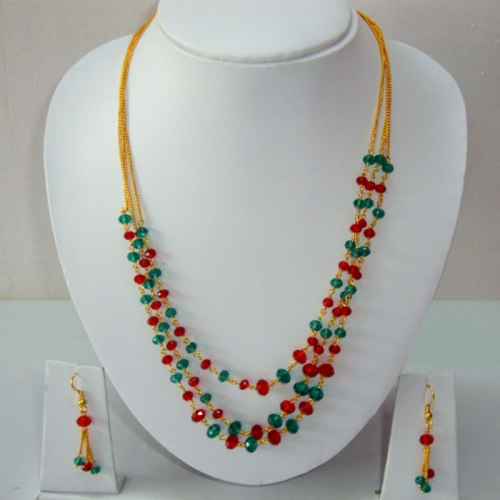 Multicolor Crystal Beads Necklace Set