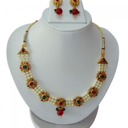 Kundan Necklace Set  With Moti And Color Stones