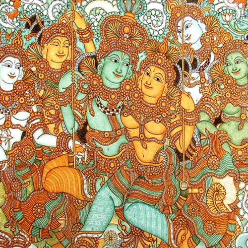 Buy kerala mural art krishna and radha 64 arts online for Mural radha krishna