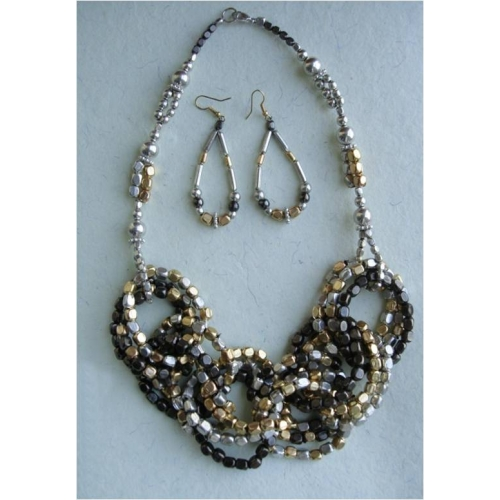 Gold, Silver And Black Necklace Set - Agaape