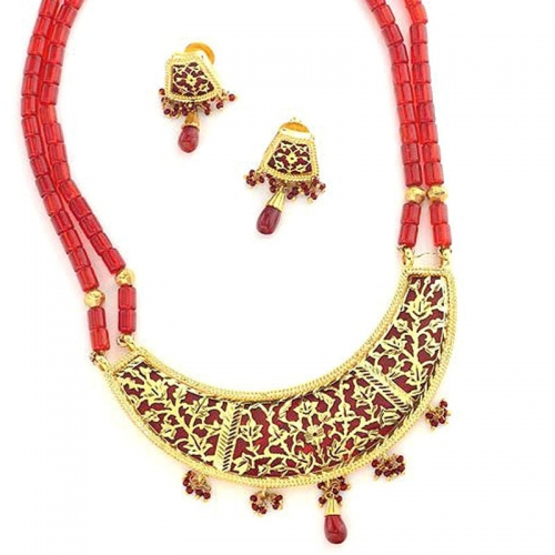Gold Work Traditional Thewa Necklace Set(red)