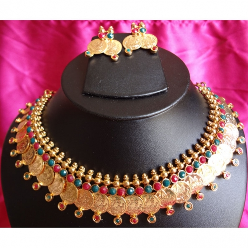 Aaradhana Dual - Faux Emerald + Ruby Necklace