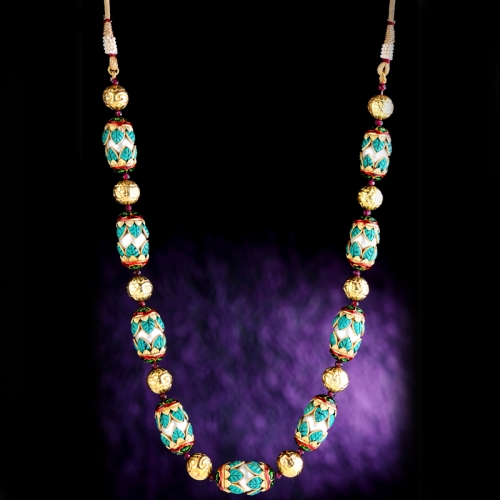 Pachi Bud Mala  In Turquoise Necklace