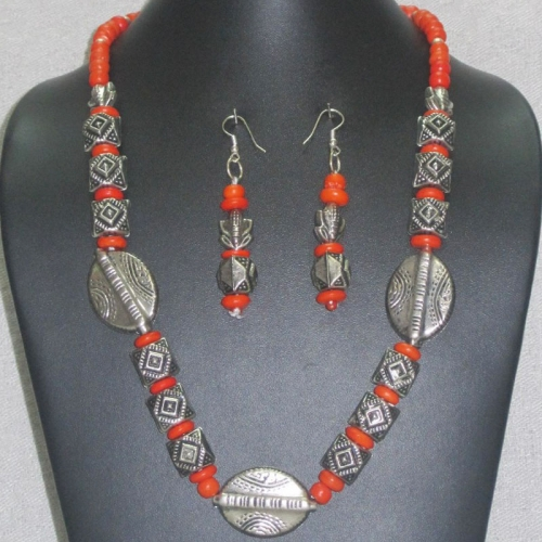 Silver And Orange Bead Necklace Set