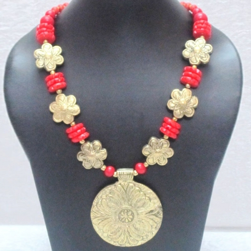 Red Beaded Medallion Pendant Necklace