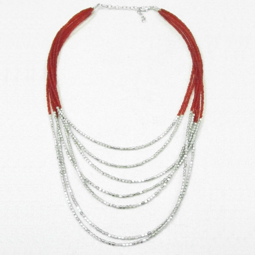 Red Multi Strand Necklace