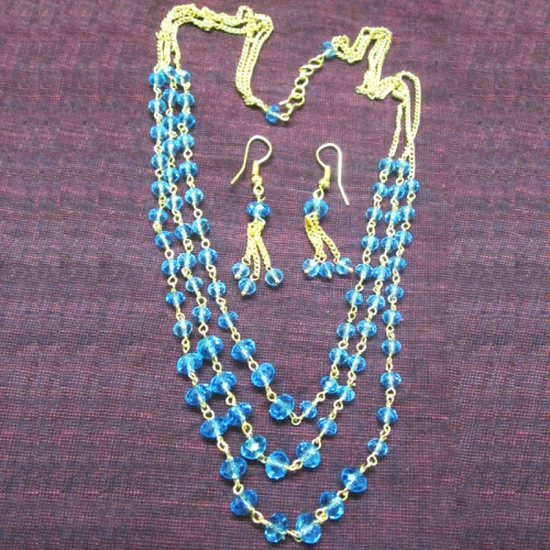 Blue Crystal Necklace Set - Hari Collections