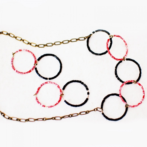 Beaded Hoop Necklace And Earrings Set - Red Black