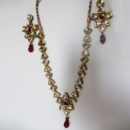 White Red Kundan Necklace Set - Mesdames