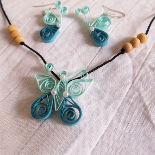 Quilled Butterfly Necklace Set - Novel Ideas