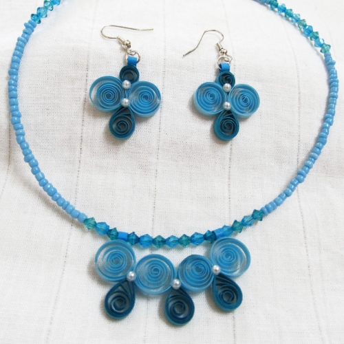 Blue Quilled Necklace - Novel Ideas