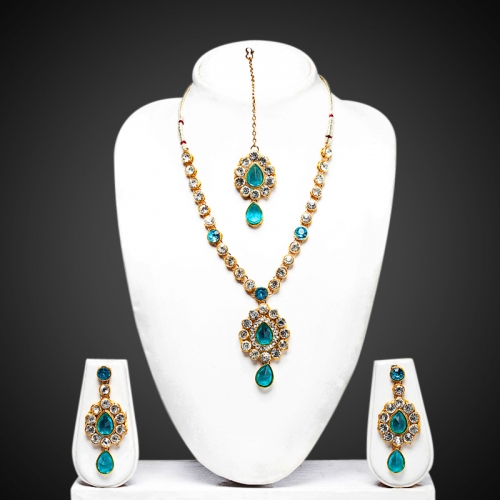 Pink Diamond Kundan Necklace Set - Peacock Collection