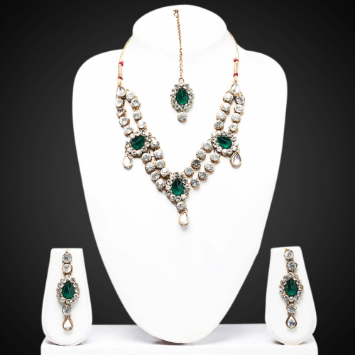 Green Double Line Kundan Necklace Set - Peacock Collection