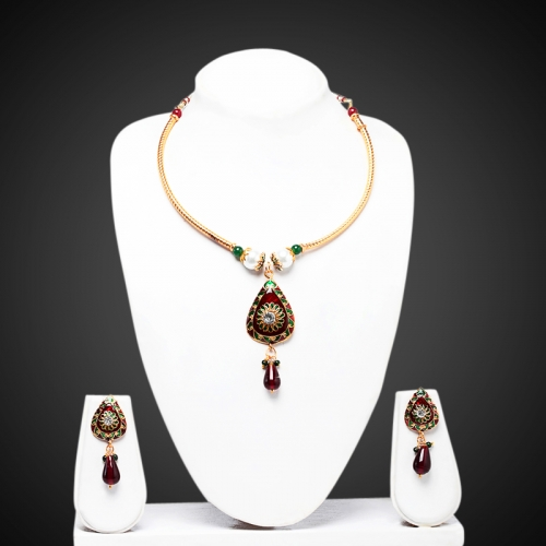 Pipe Leaf Necklace Set - Peacock Collection