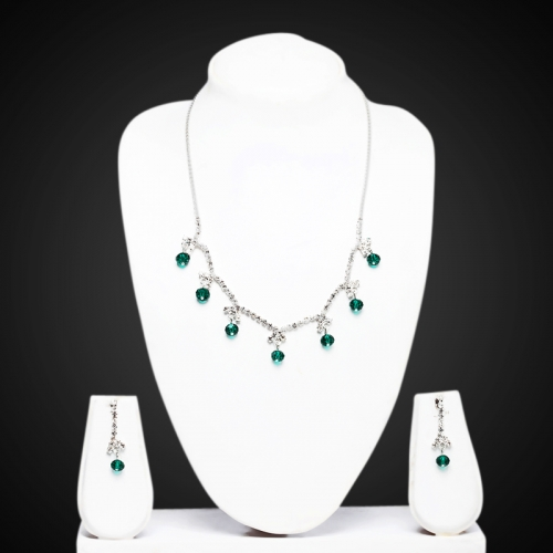 Green Stylish Zircon Necklace Set - Peacock Collection