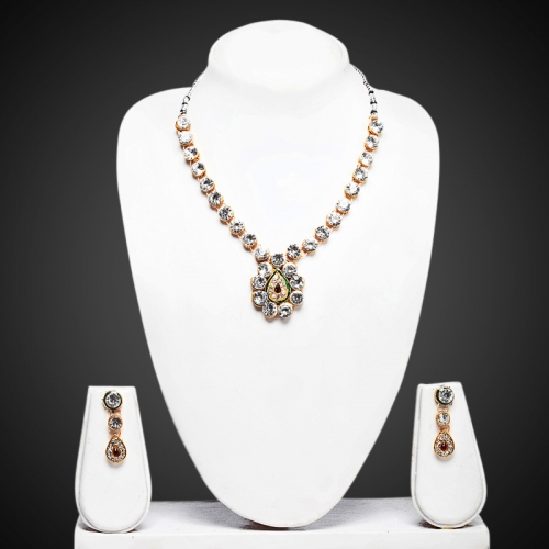 Leaf Pendant Necklace Set - Peacock Collection