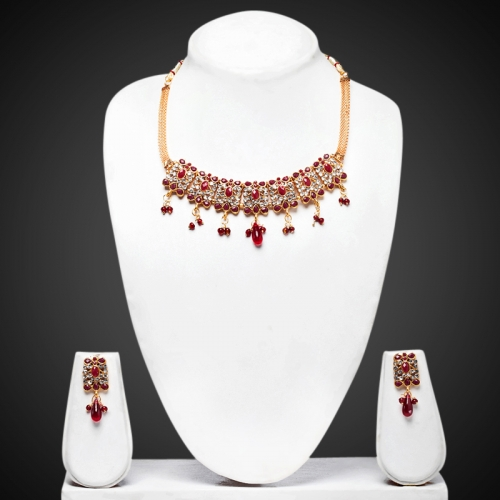 7 Square Maroon Necklace Set - Peacock Collection